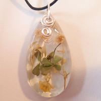 Yellow White Flowers Nature Pendant Clear Resin Green Petals Teardrop Silver Wire Adjustable Boho Bohemian Jewelry Earth Garden Necklace