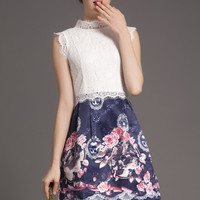 White and Blue Sleeveless High Necklace Floral Lace Dress