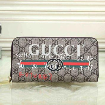 DCCK GUCCI Women Fashion Leather Clutch Bag Purse Wallet