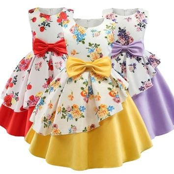 2019 New Summer Girls Birthday Wedding Party Princess Dresses Kids Printing Dress Girl Christmas Prom Dress 2-9 years old