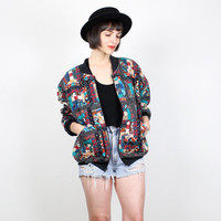 Vintage Bomber Jacket Quilted Patchwork Jacket 1980s 80s Slouch Fit Windbreaker Style Coat Jacket Americana Folk Jacket M L Extra Large XL