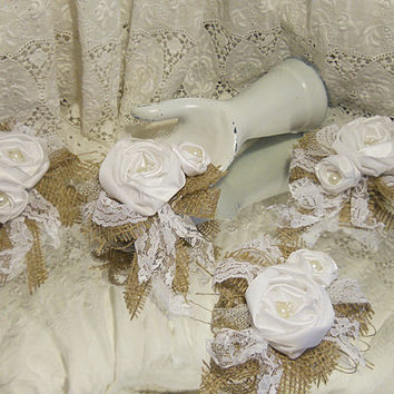 Set of 4 Burlap & White Satin Rose Clusters, for cake toppers, mason jars, wreaths, sashes, hair pieces, flower girl baskets, ring pillows,