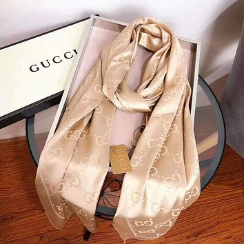 GUCCI Fashion New More Letter Keep Warm Scarf Women Golden No Box