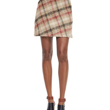Plaid A-Line Skirt, Multi Colors, Size: