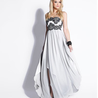 Silver & Black Embroidered Chiffon Strapless Empire Waist Dress 2015 Prom Dresses