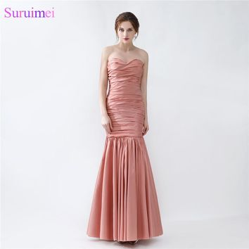 Long Mermaid Bridesmaid Dress New Design Peach Brown Taffeta Wedding Event Brides Maid Dress