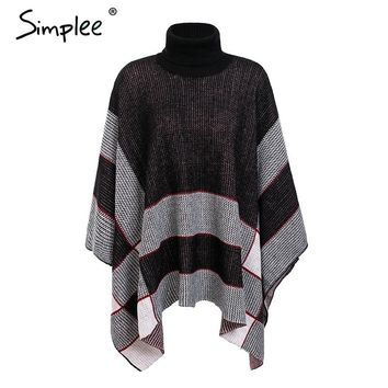 Simplee Knitted turtleneck cloak sweater female black casual jumper streetwear women sweaters and pullovers