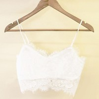Abody Women Lady Sexy Lace Crop Top Zip Back Strappy Bralet Bra