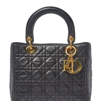 Christian Dior Women's Black Cannage Quilted Lambskin Lady Dior Medium