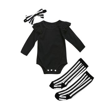 Pudcoco 2018 Newborn Baby Girls Black Flying Sleeve Bodysuit + Leggings Socks Headband Outfits Set 2018 Clothes