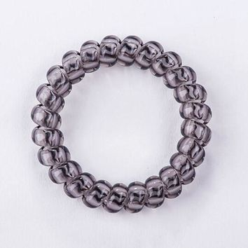 DCCKWJ7 2017 HOT SALE Fashion Telephone Wire Line Cord  Traceless Hair Ring Gum Clear Color  Elastic Hair Rubber Band For Girl