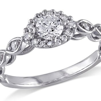 Diamond Halo Vintage Engagement Ring 1/2 Carat (ctw) in 10K White Gold