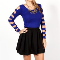 Cobalt Blue Long Sleeve Cut Out Top