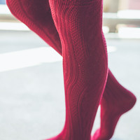 Cozy Knit Socks in Burgundy