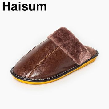 Haisum Men's Winter Cow Leather Soft Slippers Cozy Warm Lining Bedroom Mule House Slippers H-8003