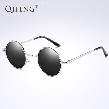 QIFENG Round Polarized Sunglasses Women Men Driver Vintage Sun Glasses For UV400 Female Male Safety Driving Retro Oculos QF018