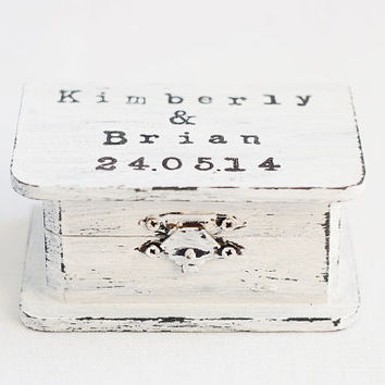 "Hand painted, personalized ""Shabby Chic"" wedding ring box with hand stamped typewriter text - black and white rustic style, vintage style"