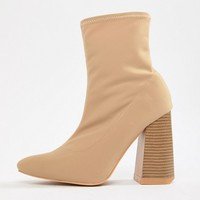 Lost Ink Wide Fit Meg Beige Stretch Sock Boots at asos.com