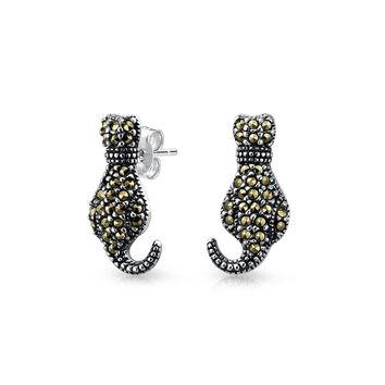 Black Animal Kitty Cat Stud Earrings Marcasite 925 Sterling Silver