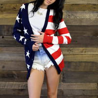 Lady Liberty American Flag Cardigan
