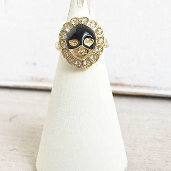 Bill Skinner Ring Pierrot with Compartment, Posie Ring Pous Vous Seule, Carnival Mask Ring, Locket Ring, Ring with Hair Receptacle