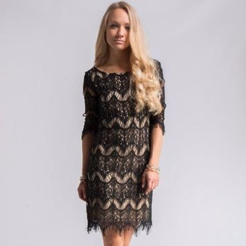 Black Lace Overlay Party Dress