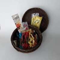 Woven Wicker Sewing Basket, Vintage, Embroidery Floss 30 skeins Variety of Colors and Brands