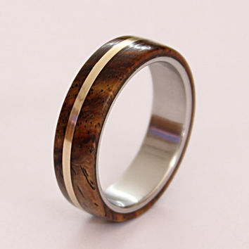 Women's titanium ring with cocobolo wood and bronze pinstripe