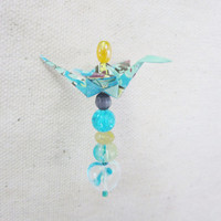 Origami Crane Rearview Mirror Charm, Blue Hand Marble Paper