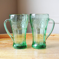 Coca-Cola Handled Green Glass mugs - Set of 2 - 14.5oz, Libbey Glass