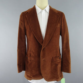 Vintage 1970s Blazer / 70s Jacket / Brown Velour / 1970 Sports Coat / LEE Sport Coat