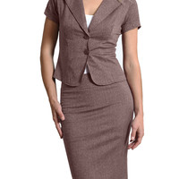LE3NO Womens Fitted Short Sleeve Blazer and Skirt Suit Set