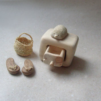 Miniature cabinet with a cute little hedgehog  wood by plad