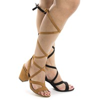 Rammy8 Tan By Liliana, Open Toe Strappy Lace Up Leg Wrap Chunky Heeled Sandals