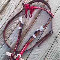 Metallic Red With Bright Silver Accents Leather Futurity Knot Browband Headstall Bridle Horse Tack