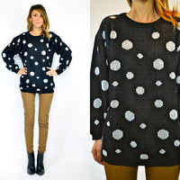 b&w slouchy POLKADOT indie classic RETRO oversized preppy SWEATER jumper, extra small-medium