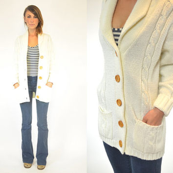 knitted CREAM fisherman BOHEMIAN preppy retro CARDIGAN sweater jacket, extra small-medium