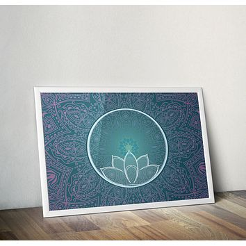 Reiki Charged Teal Blue Mandala Lotus Poster Bohemian Art Print Poster With Lotus Flower Design no frame 20x30 Large