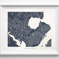 Portland Map, Maine Print, Portland Poster, Maine Art, United States, Bedroom, Bathroom Art, Office Wall Art, Valentines Day Gift
