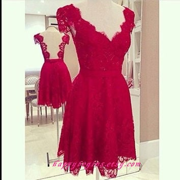 Short red dress - red lace v neck short backless prom dress / bridesmaid dress / short girls party dress / cocktail dress / evening dress