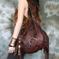 Dark brown bag leather raw edges purse bohemian fringed fringe woodstock bag tote large asymmetrical distressed strap tribal free people