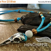 CYBER SALE Boho Bird Skull Spirit pendant, hippie native american tribal raven skull necklace on leather suede cord