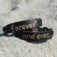 Christmas Gift - Forever and Ever Bracelets - Personalized Couple Bracelets - Personalized Custom Leather Bracelets - Hand Engraved - LOVE