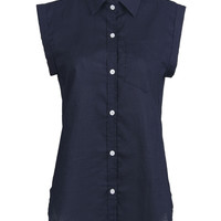 Navy Chest Pocket Detail Roll-up Cuff Sleeveless Shirt