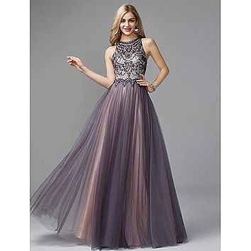A-Line Jewel Neck Floor Length Tulle Keyhole / Beaded & Sequin Prom / Formal Evening Dress 2020 with Beading