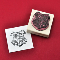Hogwarts Seal Rubber Stamp, Hand carved Harry Potter Inspired stamp, Potter Birthday Party Invitation Decor