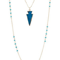 Semi Precious Stone Arrow Pendant Beaded Double Strand Necklace