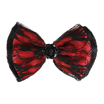 Black & Red Lace Rose Hair Bow