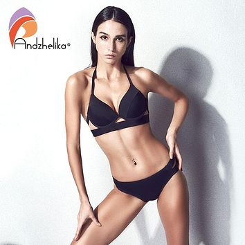 Anddzhelika Bikini New Black Sexy Halter Bandage Swimsuit Push Up Bikini Set Beach Solid Low Waist Swimwear Bathing Suit 63278
