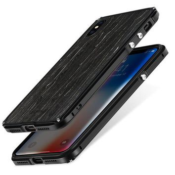 VONEF3L iPhone X Metal Bumper Case, Wooden Back Case for Apple iPhone 10 5.8', SHOWKOO Aluminum Frame with 1 mm Slim Real Wood Bottom Hybrid DIY Protective Shockproof Phone Cover - Black Icewood
